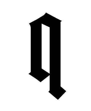 Letter q, in the Gothic style. Vector. Alphabet. The symbol is isolated on a white background. Calligraphy and lettering. Medieval Latin letter.