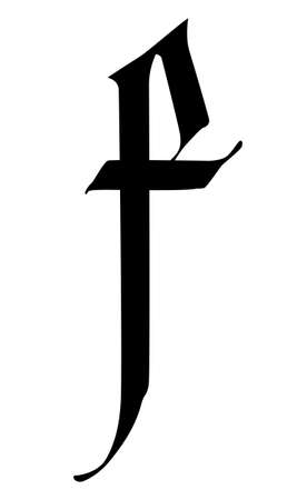 Letter F, in the Gothic style. Vector. Alphabet. The symbol is isolated on a golden background. Calligraphy and lettering. Medieval Latin letter.