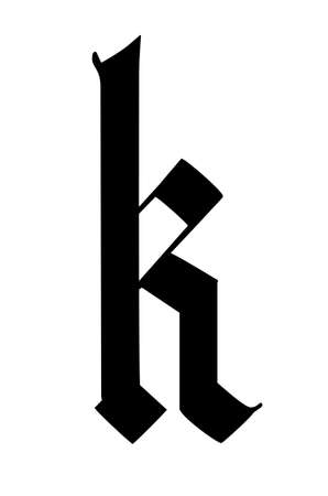 Letter k, in the Gothic style. Vector. Alphabet. The symbol is isolated on a white background. Calligraphy and lettering. Medieval Latin letter.