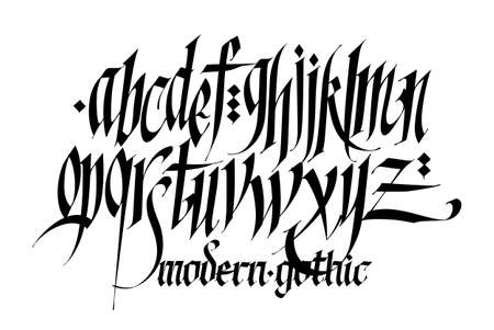 Pseudo-gothic, English alphabet. Vector. Font for tattoo, personal and commercial purposes. Letters and elements are isolated on a white background. Calligraphy for inscriptions. All letters are separate. Modern style. Vettoriali