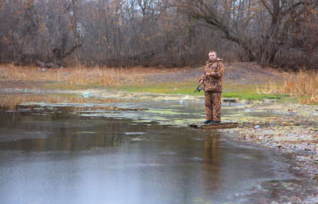 A man is fishing on the pond Stock Photo - 3957360