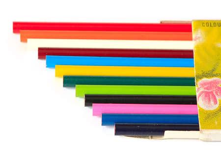 Caja con l�pices de colores Foto de archivo - 3998705