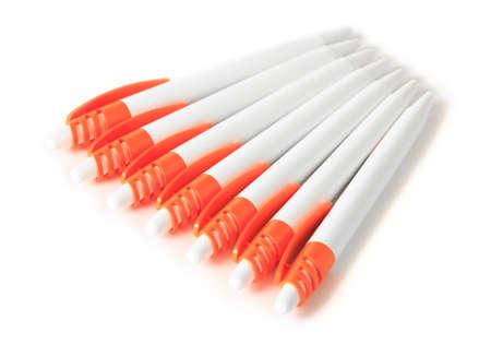 ballpoints: Seven ballpoints on the white background Stock Photo