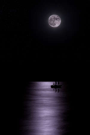 The boat floats under the moon photo