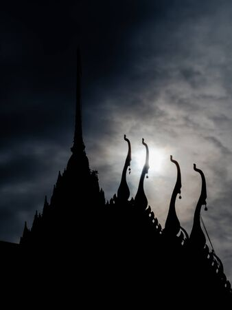 gable: the Silhouette of thai temple roof Stock Photo