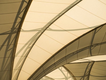 uder of fabric tensile roof structure