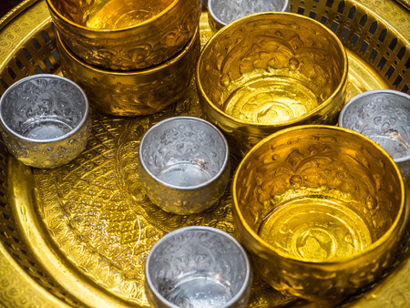 gold metal: Silver and gold Metal water dipper