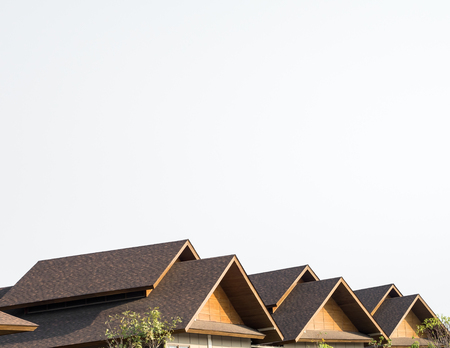 Triple Gable Shingles Roof Of Market mall, thailand on white background