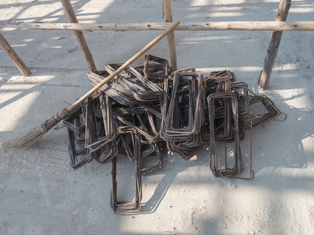 Construction site, stack of Stirrup for beam reinforced steel