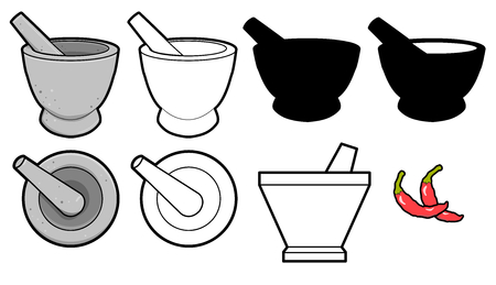 vector mortar and pestle Used for Crushing and Grinding on white background