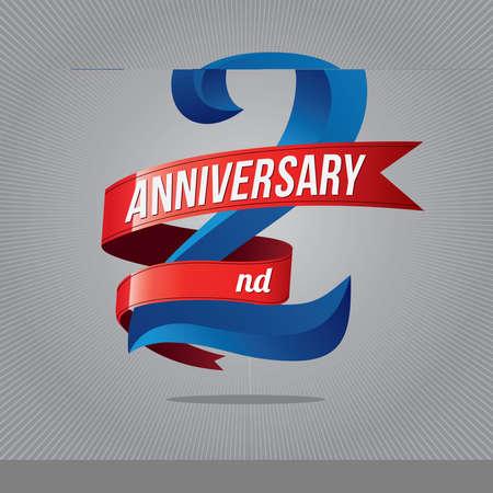 2 years anniversary celebration logotype. 2rd  logo, gray background Vectores
