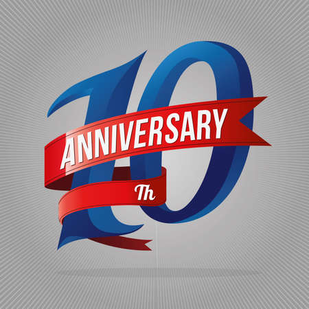 10 年記念日の祭典のロゴタイプ。灰色の背景と 10 周年記念ロゴ  イラスト・ベクター素材