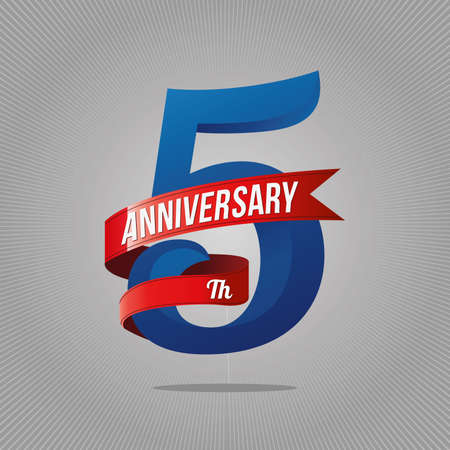 Five years anniversary celebration logotype. 5th anniversary logo, gray background  イラスト・ベクター素材
