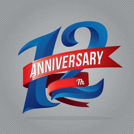 12 years anniversary celebration logotype. 12th anniversary logo with gray background 向量圖像