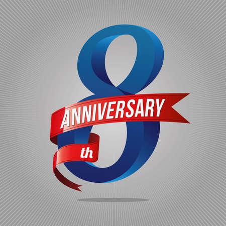 Logotipo de celebración de aniversario de 8 años. 8º logo, fondo gris
