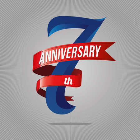 7 years anniversary celebration logotype. 7th logo, gray background Иллюстрация