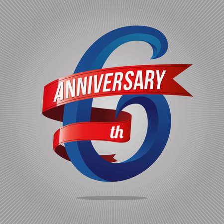 Logotipo de celebración de aniversario de 6 años. Sexto logo, fondo gris Foto de archivo - 87281593