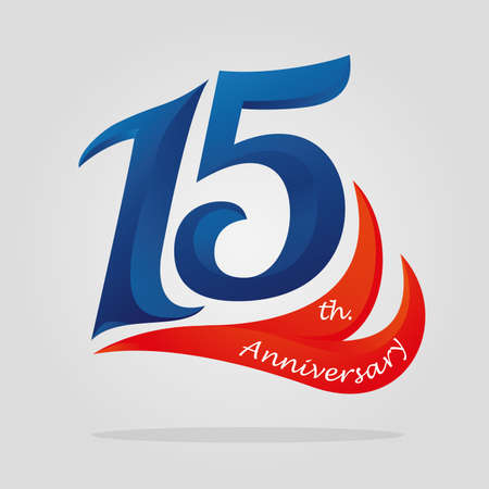 fifteen years anniversary celebration logotype. 15th anniversary logo Vectores