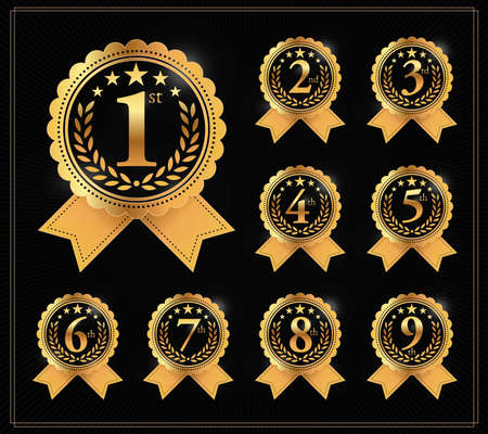 Award golden label of First, second and third winner. 1st, 2nd, 3rd, 4th, 5th, 6th, 7th, 8th and 9th Vector set Ilustração