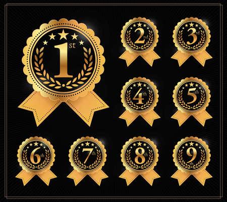 Award gouden label van eerste, tweede en derde winnaar. 1e, 2e, 3e, 4e, 5e, 6e, 7e, 8e en 9e vector set