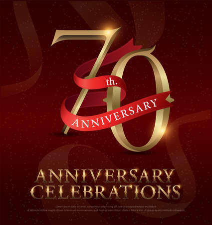 70th years anniversary celebration golden logo with red ribbon on red background. vector illustrator Stock Illustratie