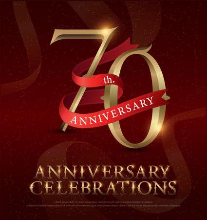 Logotipo de celebração dourada do aniversário de 70 anos com fita vermelha, sobre fundo vermelho. ilustrador vetorial