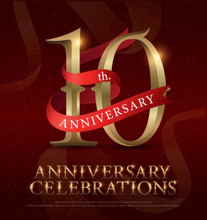 10th years anniversary celebration golden logo with red ribbon on red background. vector illustrator Vettoriali