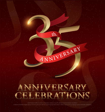 35th years anniversary celebration golden logo with red ribbon on red background. vector illustrator Illustration