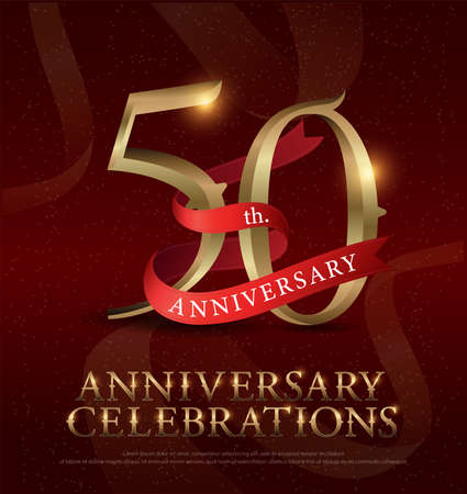 50th years anniversary celebration golden logo with red ribbon on red background. vector illustrator  イラスト・ベクター素材