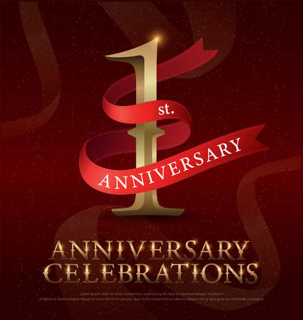 1st year anniversary celebration golden logo with red ribbon on red background. vector illustrator