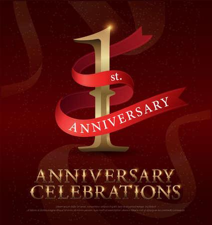 Celebração do aniversário do 1º ano, logotipo dourado com fita vermelha sobre fundo vermelho. ilustrador de vetores Logos