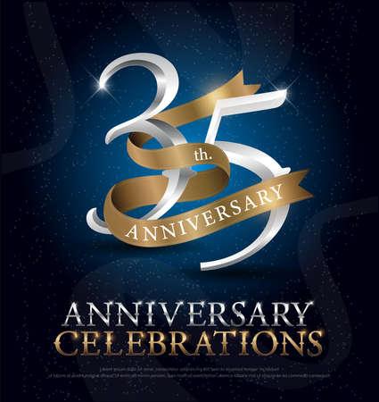 ダークブルーを背景に金色のリボンが付いた35周年記念シルバーとゴールドのロゴ。ベクトルイラストレーター
