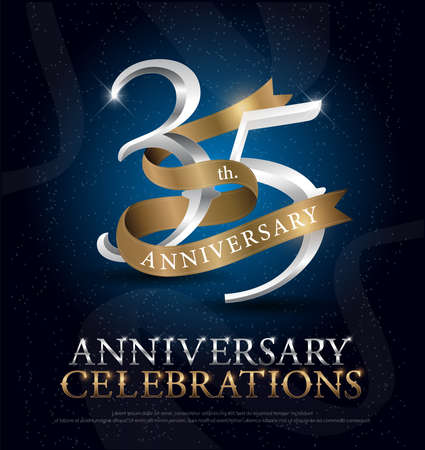 35th years anniversary celebration silver and gold logo with golden ribbon on dark blue background. vector illustrator