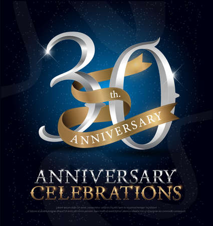 30th years anniversary celebration silver and gold logo with golden ribbon on dark blue background. vector illustrator