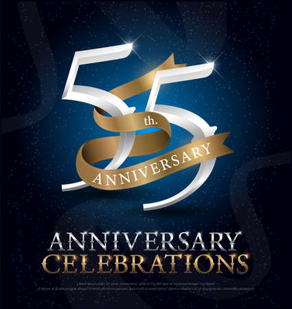 55th years anniversary celebration silver and gold logo with golden ribbon on dark blue background. vector illustrator