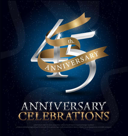 45th years anniversary celebration silver and gold logo with golden ribbon on dark blue background. vector illustrator Illustration