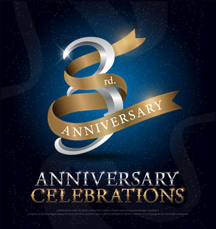 3rd years anniversary celebration silver and gold logo with golden ribbon on dark blue background. vector illustrator