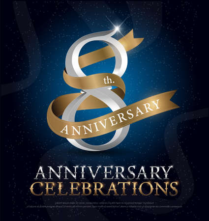 8th years anniversary celebration silver and gold logo with golden ribbon on dark blue background. vector illustrator Vettoriali