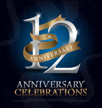 8th years anniversary celebration silver and gold logo with golden