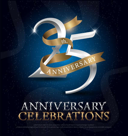25th years anniversary celebration silver and gold logo with golden ribbon on dark blue background. vector illustrator