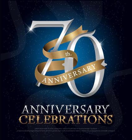 ダークブルーを背景に金色のリボンが付いた70周年記念シルバーとゴールドのロゴ。ベクトルイラストレーター