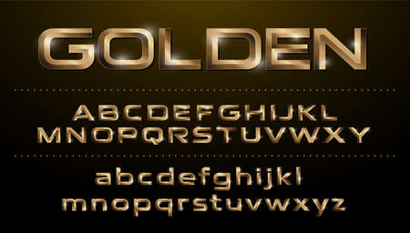 Alphabet fonts. Metallic, golden effect regular letters on a dark background. alphabet vector typeface glowing text effect. ABC, Gold lowercase and uppercase letters