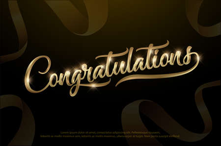 Congratulations. Calligraphy Lettering. Handwritten phrase with golden text on dark background.