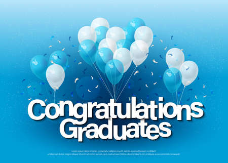 Congratulations graduates greeting card lettering template with balloon and confetti. Design for invitation card, banner, web, header and flyer. Vector illustrator.