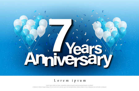 7th years anniversary greeting card lettering template with balloon and confetti. Design for invitation card, banner, web, header and flyer. vector illustrator