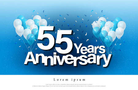 55th years anniversary greeting card lettering template with balloon and confetti. Design for invitation card, banner, web, header and flyer. vector illustrator