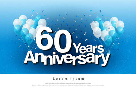 60th years anniversary greeting card lettering template with balloon and confetti. Design for invitation card, banner, web, header and flyer. vector illustrator