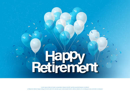 glücklicher Ruhestand Grußkarte Schriftzug Vorlage mit Ballon und Konfetti. Design für Einladungskarte, Banner, Web, Header und Flyer. Vektor Illustrator