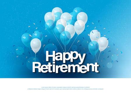 szczęśliwego przejścia na emeryturę szablon napisu z balonem i konfetti. Zaprojektuj zaproszenie, baner, stronę internetową, nagłówek i ulotkę. ilustrator wektorów