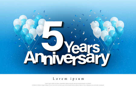 5th years anniversary greeting card lettering template with balloon and confetti. Design for invitation card, banner, web, header and flyer. vector illustrator Stock Illustratie